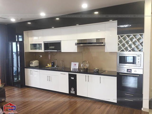 Xu hướng mới mẻ kết hợp giữa không gian phòng khách và bếp liền