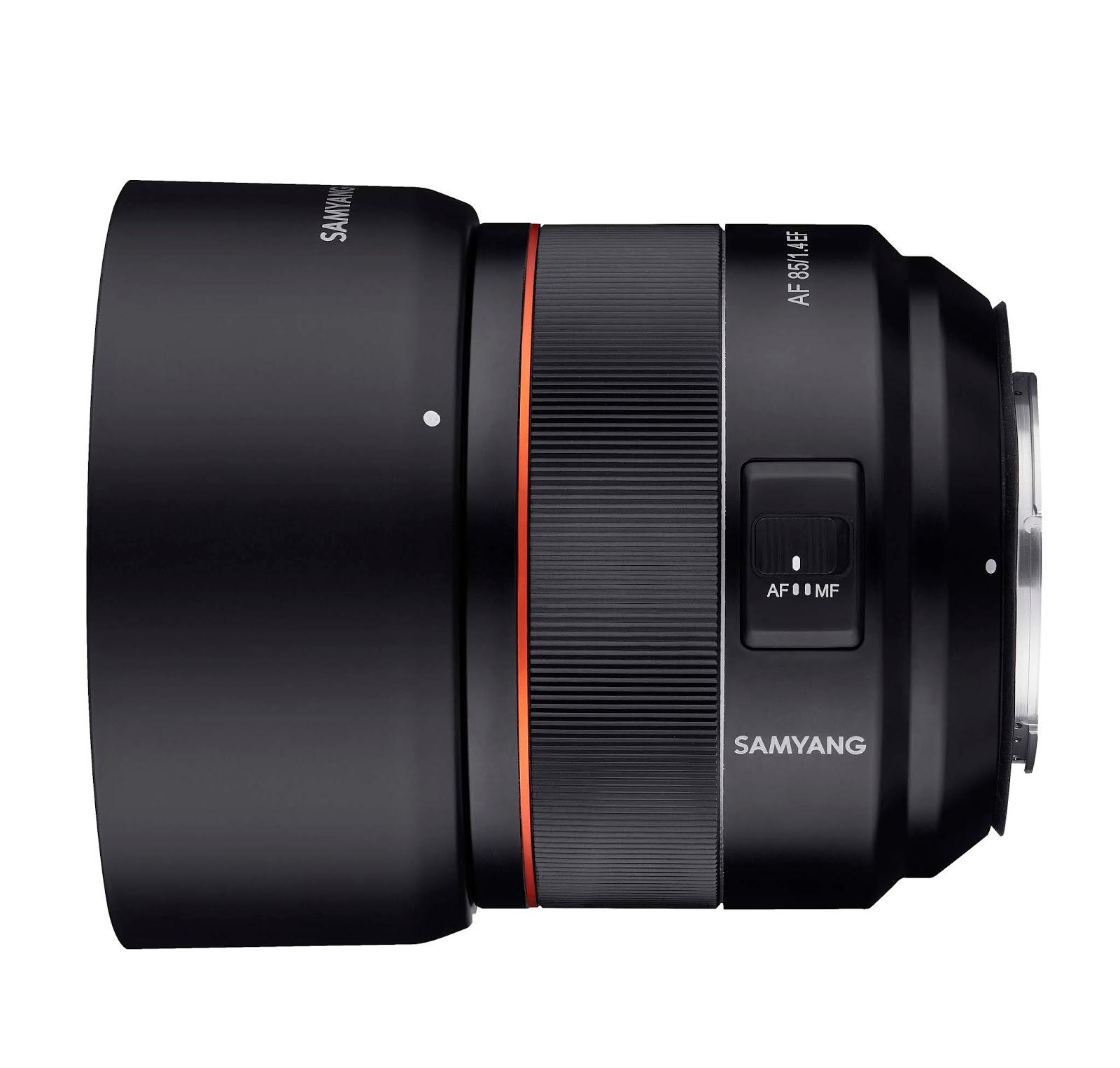 Samyang AF 85mm f/1.4 EF, вид сбоку