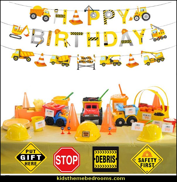 onstruction Birthday Party Supplies for Kids Construction Theme Birthday Party Boys Construction Theme Birthday Party Favors Supplies Tractor Banner Balloons Cupcake Toppers Excavators Bulldozers Dump Trucks Cement Trucks Party Decorations Kits Set for Boys Kids  Construction party ideas - construction party decorations - digger construction party props - Dump Truck Party Decorations - crane construction theme party - work truck decorations - Digger Zone Boys Birthday Party -
