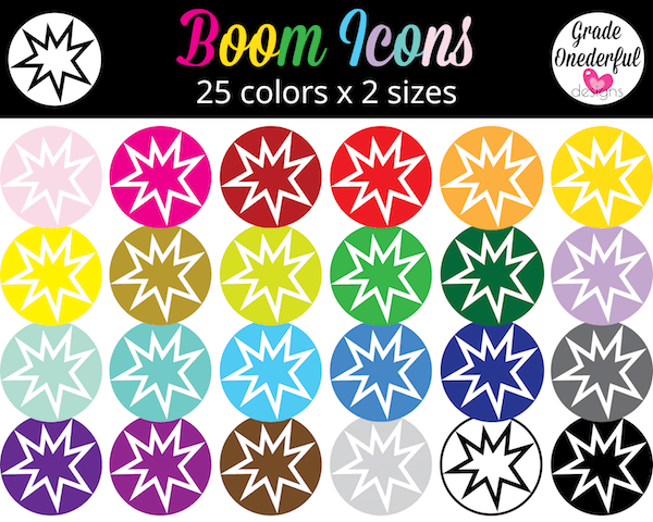 Boom Learning Icons in  ALL the Colours!