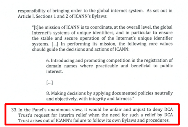 graphic of portion of page 8 of IRP Panel decision in DCA Trust and ICANN case