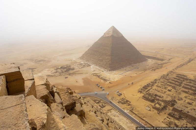 It took him about eight minutes to scale to the top, and about 20 minutes to get down -- where he was promptly arrested. - He Illegally Climbed One Of The Pyramids… And Filmed The Whole Thing.