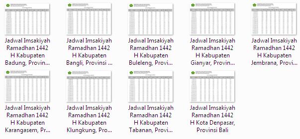 Kumpulan Jadwal Imsakiyah Ramadhan 1442 H Seluruh Kabupaten/Kota di Provinsi Bali