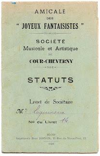 Statuts de la Société Musicale et Artistique de Cour-Cheverny