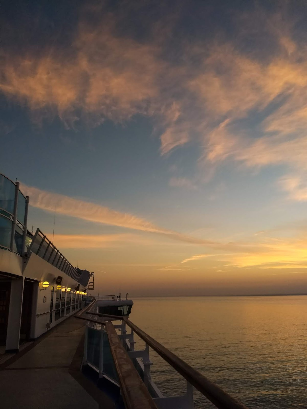 Sunrise clouds captured from a cruise ship docked in Lisbon.