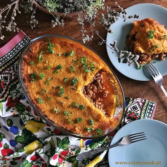 Cottage pie z puree dyniowo-ziemniaczanym
