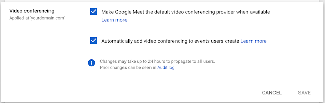 Make Google Meet or an add-on your default video conferencing option in Google Calendar 2