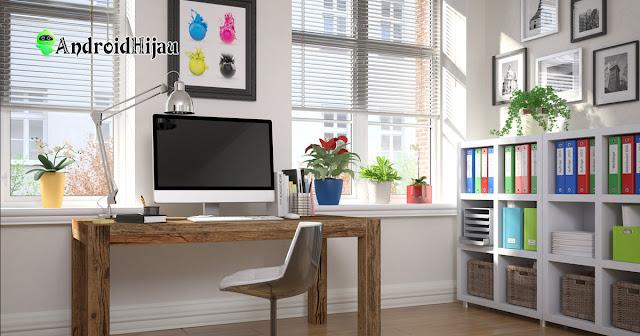 home office minimalis ruang kerja rumah hadap jendela