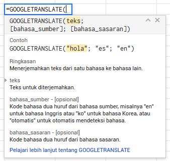 Menerjemahkan dari Google Spreadsheet