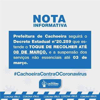 Imagem do aviso do toque de recolher em Cachoeira