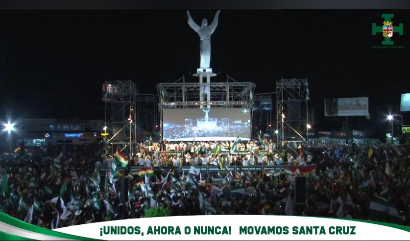 Organizadores calculan que la concentración en el Cristo Redentor superó el millón de personas / CAPTURA PANTALLA COMITÉ CÍVICO PRO SANTA CRUZ