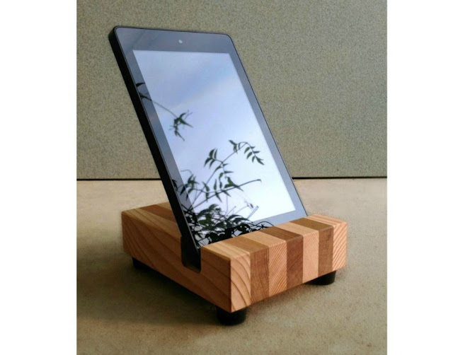 Modern Tablet Stand in Reclaimed Wood