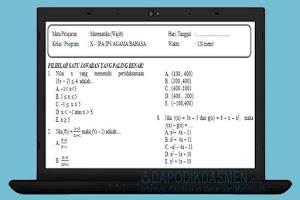 Soal PAT UKK PAS Matematika SMA MA Kelas 10 Kurikulum 2013 Tahun 2019