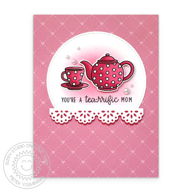 Sunny Studio Blog: You're A Tea-riffic Mom Red Polka-dot Teapot & Teacup Mother's Day Card (using Tea-riffic Stamps, Eyelet Lace Border Dies, Stitched Semi-Circle Dies & Flirty Flowers Paper)