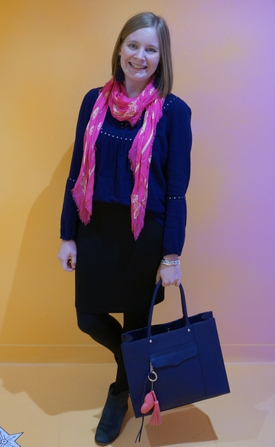 navy peasant blouse black pencil skirt ankle boots in office with neon pink alexander mcqueen skull scarf | awayfromblue