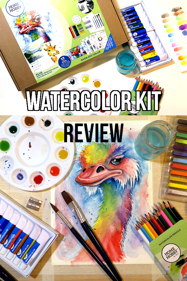 Is is possible to have all the supplies you need to start watercolor painting delivered to you in one kit? Let's see! I unboxed and reviewed the Home Hobby By 3L Watercolor Studio Kit and tried following one of their step-by-step guides on how to paint an ostrich in rainbow colors.