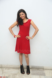 Mounika Telugu Actress in Red Sleeveless Dress Black Boots Spicy Pics 032.JPG