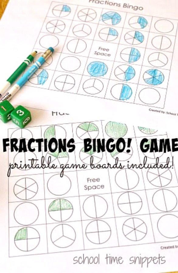 Fraction BINGO gamboard