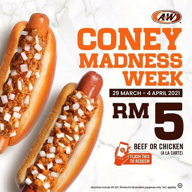 RM5 for A&W CONEY DOG For This CONEY MADNESS WEEK