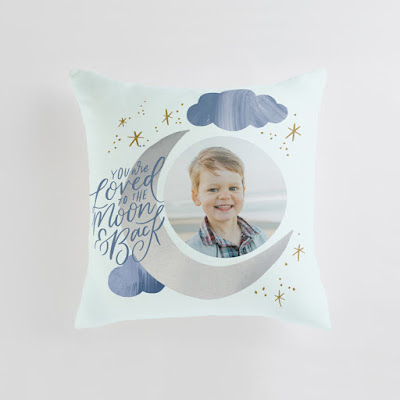 Moon and Back Cloudy Sky Pillow