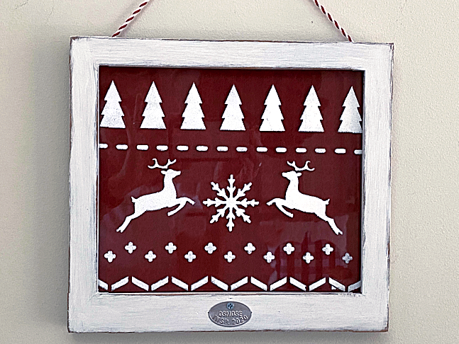 Christmas sweater design in white frame