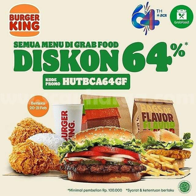 BURGER KING PROMO HUT BCA 64 – DISKON 64% Khusus pemesanan via GRABFOOD