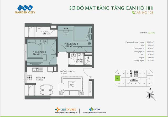 Thiết kế căn hộ 12B, dt 52m, tòa HH1 FLC Garden City