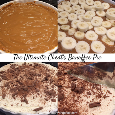 collage of 4 photos of banoffee pie with text