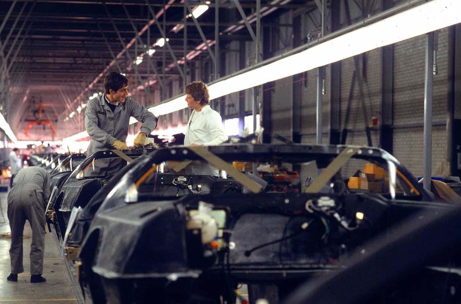 Workers at DeLorean Motors factory. 1981.