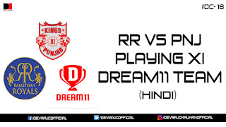 IPL 2018 | PNJ VS KKR | PLAYING XI | DREAM11 TEAM | #DC-18