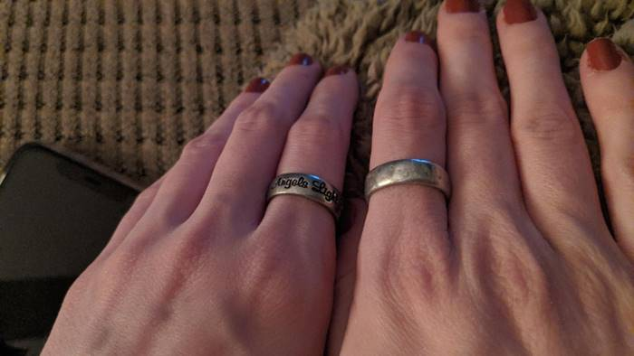 The eight-year difference between my wife's ring, which my grandmother gave her, and the new jewelry that she recently found.