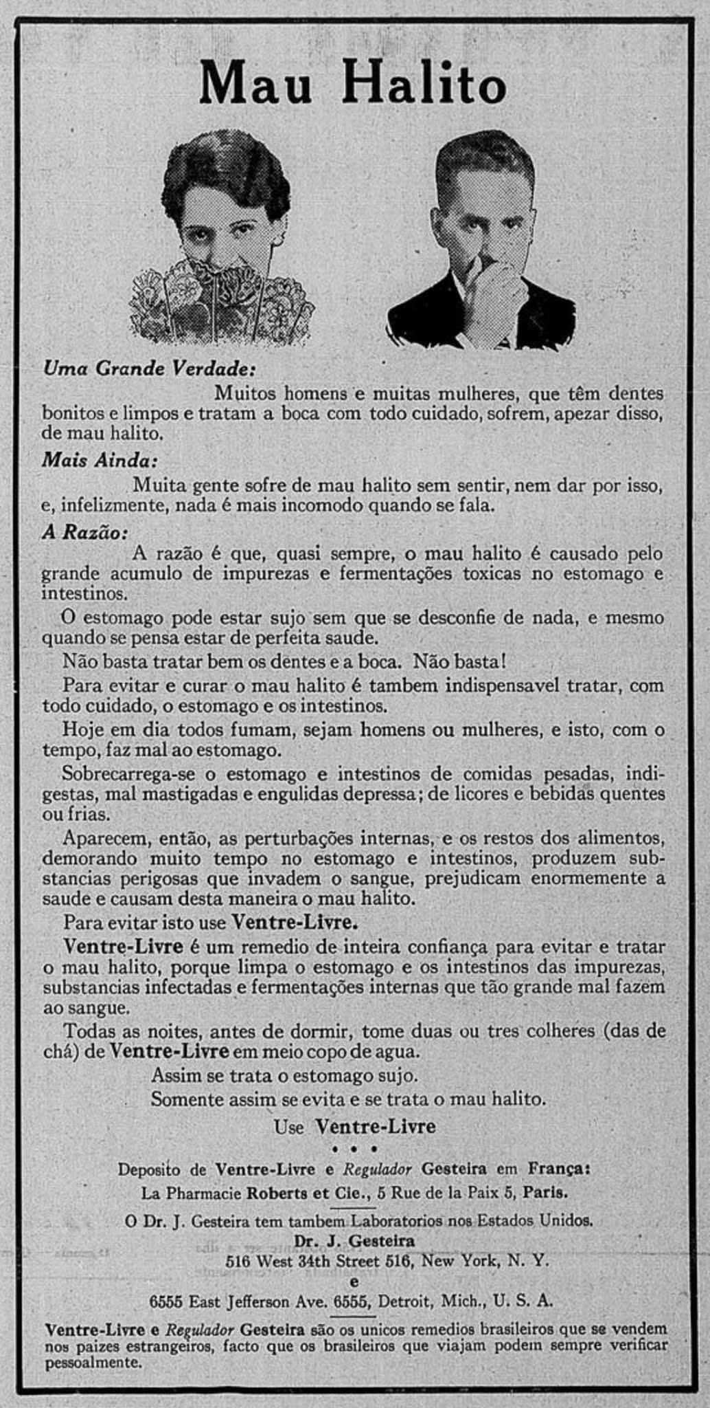 Anúncio de 1935 de medicamento para aliviar o mau hálito