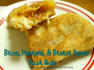 Bacon, Pineapple, & Banana Pepper Pizza Rolls | Homemade pizza rolls with a killer combination for a filling #bacon #recipe