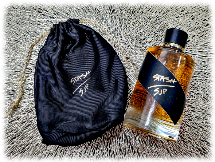 SJP Stash bottle and drawstring bag