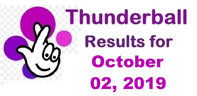 Thunderball Results for Wednesday, October 02, 2019