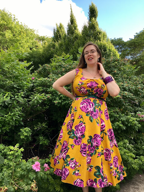 Lady V London purple rose on mustard Jasmine dress
