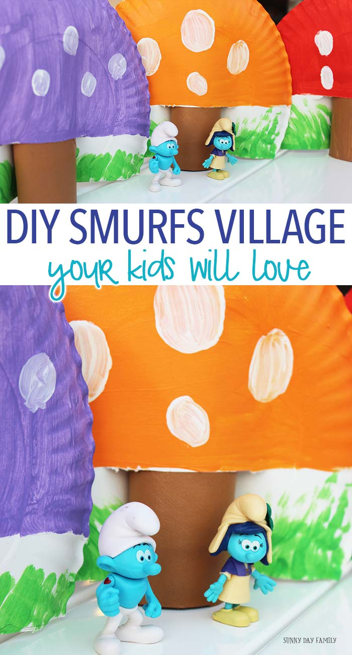 Make your own Smurfs village with this easy DIY! A fun Smurfs craft perfect for a Smurfs party, Smurfs movie night, or just for pretend play. So cute!