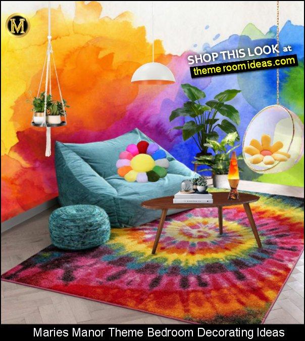 tie dye rug bubble hanging chair tie dye wallpaper mural hippie bedroom ideas 70s decorations