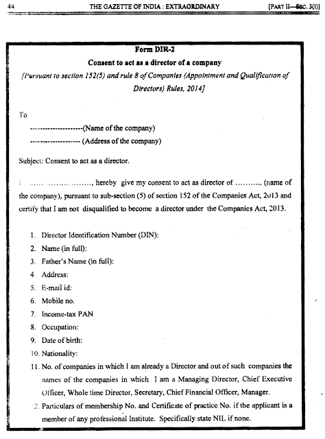 format of consent letter of director for appointment