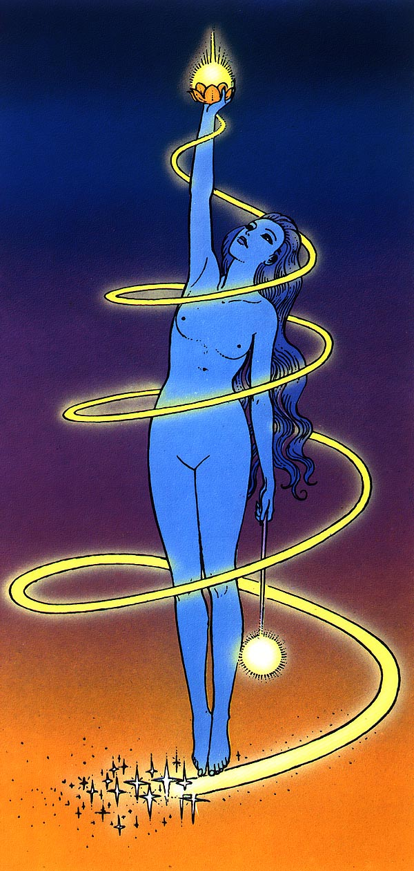 a color drawing by Moebius of a woman holding up a light
