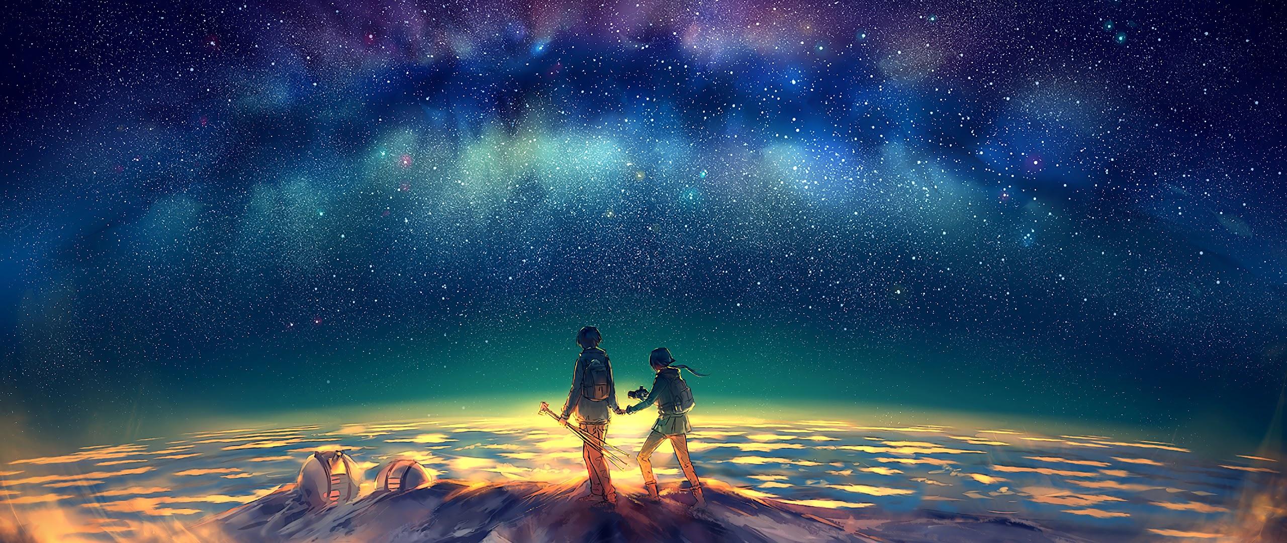 Anime, Stars, Night, Sky, Summit, 4K, 3840x2160, #50 Wallpaper