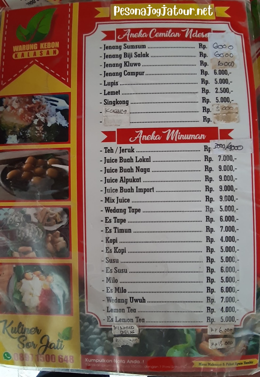 daftar menu minuman Warung Kabon kalasan