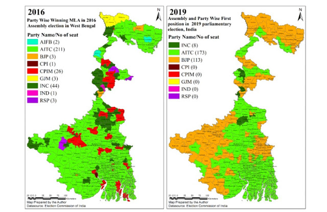 """Map attribute: Distribution of winning political parties in the 2016 State Assembly elections and the 2019 Parliamentary elections. Source – """"Identity Politics of West Bengal"""" by Dr. Mehebub Sahana, University of Manchester, UK, 24 Nov 2020, Clarion India"""