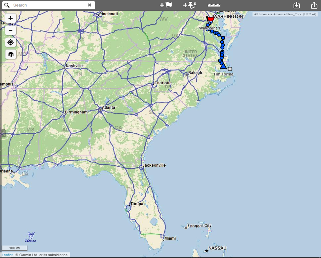 this map shows where i have been so far little blue line way at the top all the way down to the tip of florida