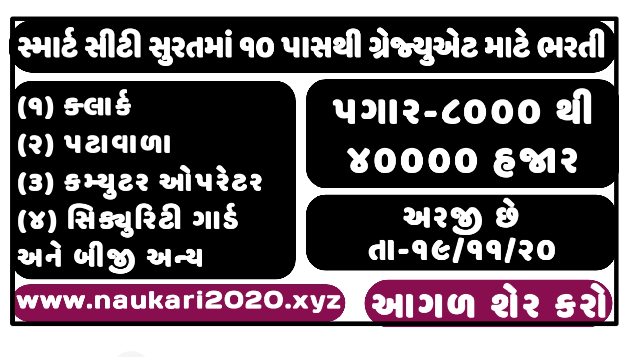 Surat Smart City Development Limited Recruitment For Various Post 2020