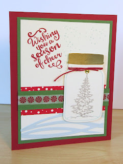 Christmas Card by Tina Petko featuring the Jar of Cheer stamp set and snow drifts made with the Swirly Scribbles Dies