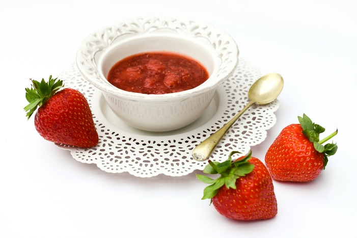 Strawberry & Vanilla Chia Seed Jam in a bowl