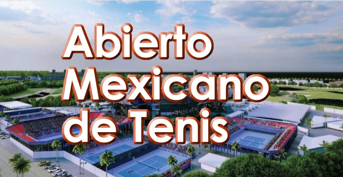 Abierto Mexicano de Tenis texto sobre un Estadio visto a lo lejos