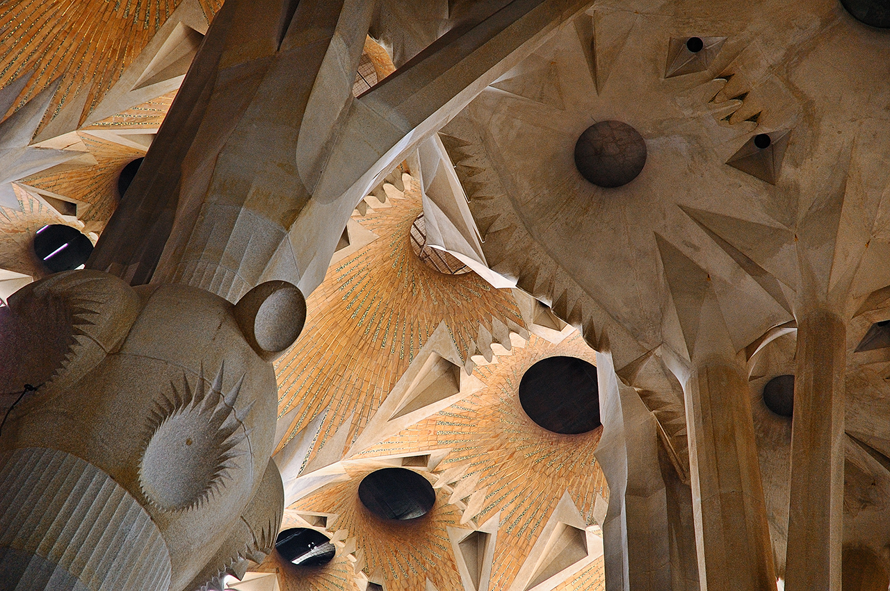 The Ceiling at Sagrada Familia Cathedral in Barcelona