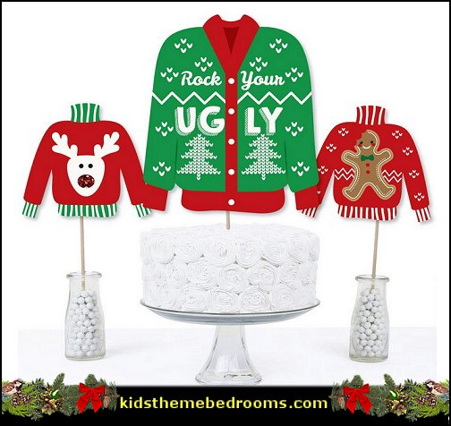 Ugly Sweater - Holiday & Christmas Party Centerpiece Sticks - Table Toppers
